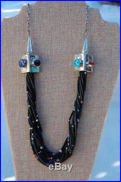 Amazing Navajo Heishi Sterling Necklace Signed Santo Domingo Jet Turquoise Coral