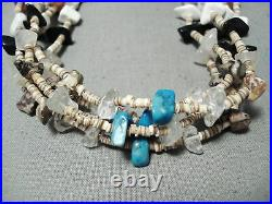 Amazing Vintage Navajo Turquoise Sterling Silver Heishi Necklace