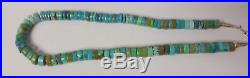 Antique NAVAJO Sterling Silver & Turquoise Heishi Hand Made Necklace