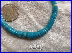 Antique Native American Navajo bright Turquoise graduated Heishi Bead Necklace