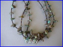 Antique Navajo 3 strands turquoise +heishi bead necklace 16 long squaw wrap