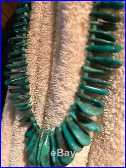 Antique Navajo Indian old pawn turquoise Heishi blossom pendent necklace jewelry