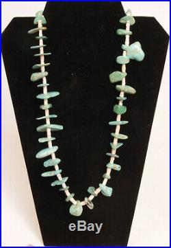 Antique Navajo Turquoise + Shell Heishi Necklace 31, early 20th century