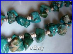 Antique Santo Domingo Turquoise Nugget Shell Heishi Necklace Pump Drilled Beads