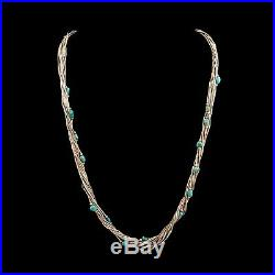 Antique Vintage Sterling Silver Native Navajo Pawn Turquoise 10 Strand Necklace