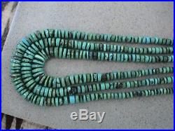 Auth. Native American Indian Santo Domingo Three Strand Turquoise Necklace/80's