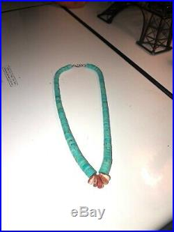Authentic Lupe Lovato Turquoise and Spiny Oyster Shell Corn Heishi necklace