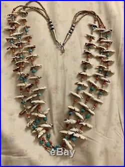 Authentic Vintage Santo Domingo Fetish Heishi Necklace Shell Coral Turquoise