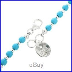 BLUE TURQUOISE HEISHI Beads Necklace, 20 Strand, Sterling Silver, Navajo L Begay
