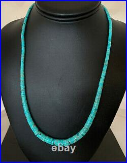 BLUE TURQUOISE HEISHI Sterling Silver Necklace Navajo Pearls Stab Graduated01850