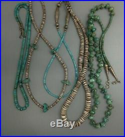 Beautiful 27 Strand Necklace Turquoise Heishi Nugget on cording Silver Clasp