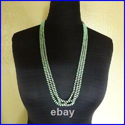 Beautiful NAVAJO Hand Rolled TURQUOISE Beads 3-Strand NECKLACE Shell Heishi