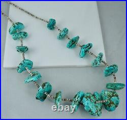 Big Early Santo Domingo Heishi Turquoise Native American Necklace Pawn Vintage