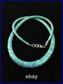 Blue Turquoise Heishi Sterling Silver Necklace Navajo Pearls Graduated 16 1850