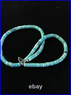 Blue Turquoise Heishi Sterling Silver Necklace Navajo Pearls Graduated 20 1755