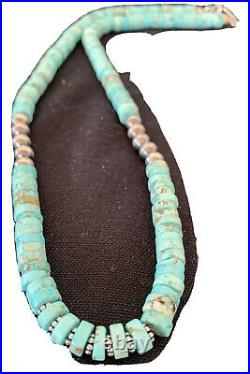 Blue Turquoise Heishi Sterling Silver Necklace Navajo Pearls Stab 8mm 20 970