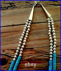 Bouble Gorgeous True Blue Turquoise Sterling Heishi Rope Necklace