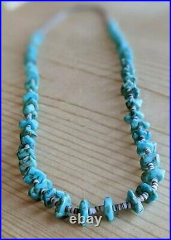 CHUNKY VINTAGE Spinet Oyster SANTO DOMINGO TURQUOISE STERLING Heishi NECKLACE