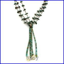 C. 1950s Navajo Turquoise and Shell Heishi Necklace with Joclas, 30 Long