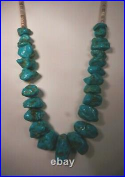 Chunky Old Pawn 20 Navajo Natural Turquoise Nugget &olive Shell Heishi Necklace