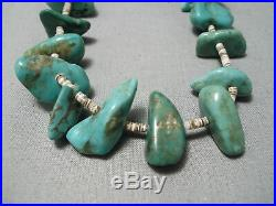 Chunky Old Royston Turquoise Vintage Navajo Native American Heishi Necklace