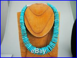 Classic Taos Beauty! Graduated Natural Turquoise Heishi &. 925 Necklace Dine