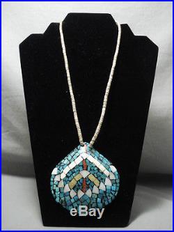 Colossal Vintage Santo Domingo'mosaic Turquoise' Coral Heishi Necklace