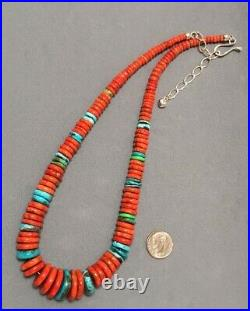 DTR Jay King Sterling Silver Turquoise Coral Graduated Heishi Disc Bead Necklace