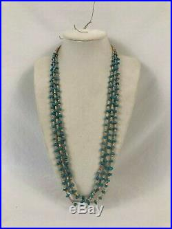 Dead Pawn Navajo Native American Delicate Turquoise Heishi 3 Strand Necklace