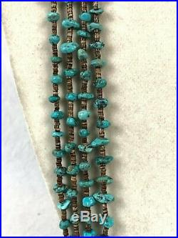 Dead Pawn Navajo Native American Delicate Turquoise Heishi 4 Strand Necklace