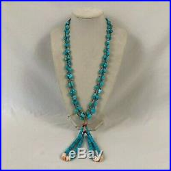 Dead Pawn Navajo Native American Turquoise Heishi Coral Sterling Jacla Necklace