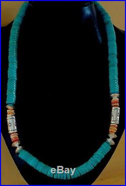 Dead Pawn Sterling Engraved Navajo Pearls 10mm Turquoise Heishi Necklace 24