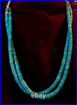 Double Gorgeous True Blue Turquoise Spiny Oyster Sterling Heishi Rope Necklace