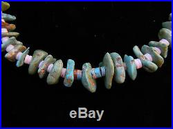 EARLY Santo Domingo Turquoise Nugget & White Heishi Bead SQUAW Necklace