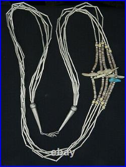 ESTATE NAVAJO LIQUID SILVER TURQUOISE SHELL HEISHI FETISH NECKLACE 32 /60g