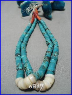 Early 1900's Vintage Navajo Turquoise Nugget Heishi Jacla Necklace