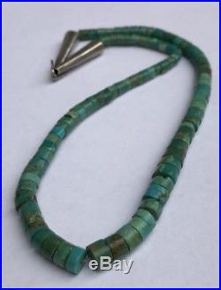 Early Native American Navajo Royston Turquoise Heishi Graduated Necklace 17 7/8