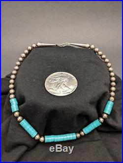Early OLD Navajo Turquoise & Sterling Silver Bench Bead Heishi Necklace 17