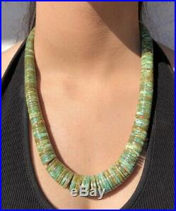 Early Santo Domingo Graduated Rolled Royston Turquoise Heishi Bead Necklace 23