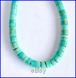 Early Santo Domingo Graduated Rolled Turquoise Coral Heishi Bead Necklace 18.5