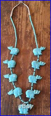 Estate Turquoise Bear Heishi Fetish Necklace w Sterling Cones