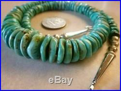 Exceptional Turquoise Heishi Bead And Silver Native American Navajo Necklace