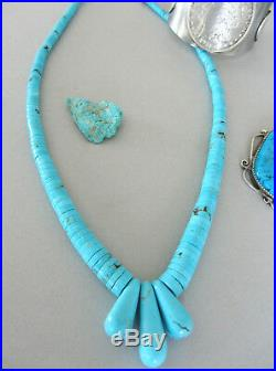 Extremely RARE Sleeping Beauty Robins Egg Turquoise Heishi Jacla Navajo Necklace