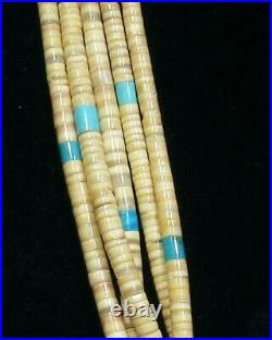 FINE Old Pawn 40s 5 Strand Zuni 925 Silver Turquoise Oyster Heishi Necklace 25