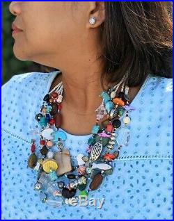 Fetish Treasure Necklace 5 Strands Heishi Beads Zuni Native American Jewelry