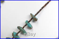 Fine Old Native American Indian Turquoise Nugget Heishi Wampum Necklace
