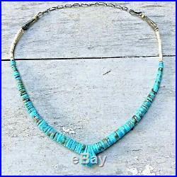 GRADUATED Heishi Turquoise DISC Bead Strand Rolled Corn Necklace 925 Vintage