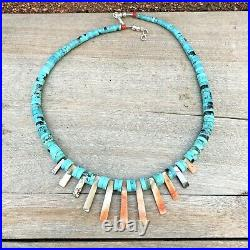 GRADUATED Turquoise DISC Heishi Bead Abalone Tassel Strand Rolled Necklace Vtg