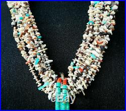Gem & Shell Heishi & Sterling Necklace With Turquoise Jacklas Kewa' Pueblo