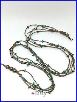 Genuine Native American Natural Turquoise Coral Sterling Heishi 3 Strand Necklac